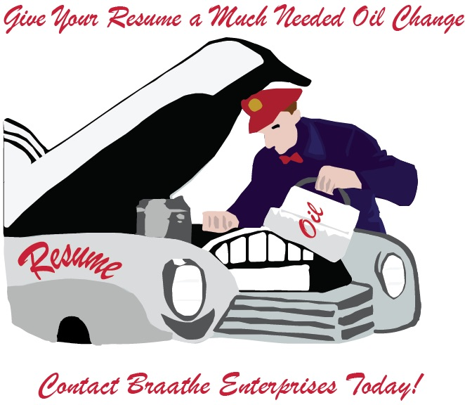 mechanic pouring oil into a car that has the word resume on the side